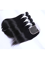 cheap -4Bundles 400g 100% Unprocessed Natural Straight Brazilian Remy Human Hair Wefts with 1Pcs 4x4 Lace Closures Natural Black Human Hair Extensions/Weaves