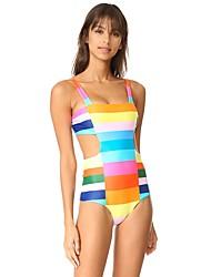 Women's Straped One-piece Color Block Floral Sport Geometric Rainbow