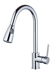Modern/Contemporary Art Deco/Retro Fashion Standard Spout Centerset Widespread Rotatable Pull out Ceramic Valve Chrome , Kitchen faucet