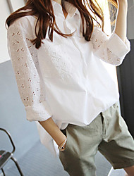 Women's Casual Vintage Spring Summer Shirt,Solid Floral Shirt Collar Long Sleeves Brocade Thin