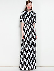 MARY YAN&YU Women's Party Daily Cute Boho Street chic A Line Dress,Floral Check Shirt Collar Maxi Half Sleeves Polyester Spring Summer Mid Rise