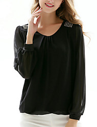 cheap -Women's Going out Work Casual Sophisticated All Seasons Blouse,Solid Round Neck Long Sleeves Polyester