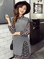 Women's Casual/Daily Long Vest,Solid Print V Neck Sleeveless Wool Others Fall Winter Medium Micro-elastic