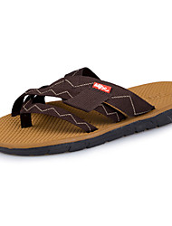 Men's Sandals Comfort Spring Fall PU Outdoor Flat Heel Black Light Brown Flat