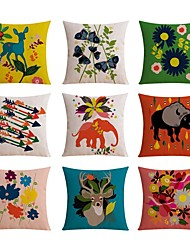 cheap -9 pcs Linen Pillow case Bed Pillow Body Pillow Travel Pillow Sofa Cushion Pillow Cover,Floral Sports and Outdoors Graphic PrintsPattern