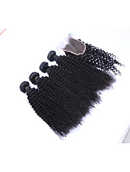 100% Unprocessed Short Size 4pcs 400g Natural Black Kinky Curly Brazilian Remy Human Hair Wefts with 1Pcs 4x4 Lace Top Closures Human Hair Extensions