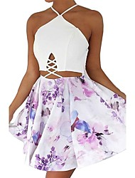 cheap -Women Daily Holiday Going out Vintage Sexy Sheath Dress,Mixed Color Sexy Flower Halter Mini Sleeveless Polyester Spring Summer High Rise