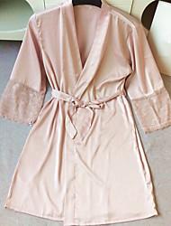 cheap -Women's Robes Satin & Silk Nightwear,V-Neck Solid-Medium Lace Satin White Black Blushing Pink Gray Fuchsia