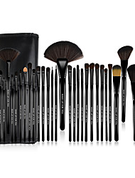 MAKE-UP FOR YOU® 32pcs Professional Cosmetic Black Rod Makeup Brushes Set Kit with Black Bag