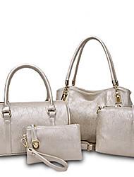 economico -Donna Sacchetti PU (Poliuretano) Tote Set di borsa da 4 pezzi per Casual Per tutte le stagioni Blu Oro Nero Beige