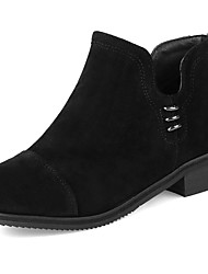 cheap -Women's Shoes Leatherette Fall Winter Comfort Boots Chunky Heel Round Toe Booties / Ankle Boots Zipper for Party & Evening Dress Black