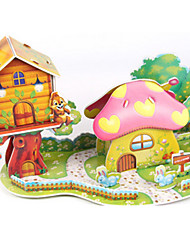 cheap -3D Puzzles Jigsaw Puzzle Paper Model Model Building Kit House Mushroom Architecture 3D DIY High Quality Paper Classic Boys' Unisex Gift