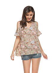 Women's Daily Cute Summer Blouse,Floral V-neck Short Sleeve Chiffon Thin