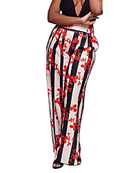 Women's High Waist strenchy Wide Leg PantsBoho Street chic Vintage Loose All Match Casual Classic Holiday Fashion Striped Floral Color Block