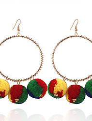 cheap -Fashion Women Trendy Fur Ball Oversized Drop Earrings