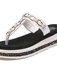 Women's Slippers & Flip-Flops Comfort Light Soles Summer PU Casual Dress Pearl Flat Heel White Black Flat