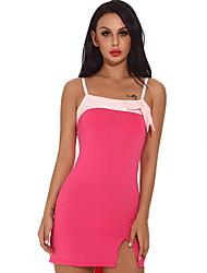 cheap -Women Nightclub Splicing Color Sexy Slim Dress Sleeveless Skirt Lingerie