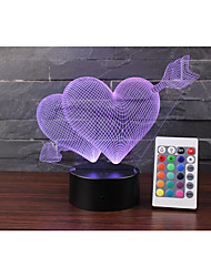 1 Arrow Heart 3D Lamp/USB Lamp/Lover's Creative Gift/I LOVE YOU 3D Table Lamp/Remote Touch Acrylic Visual Lamp/LED Colorful Gradient Night Light