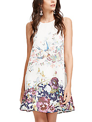 cheap -Women's Going out Work Casual Sophisticated Sheath Dress,Print Round Neck Above Knee Sleeveless Rayon Polyester All Seasons High Rise