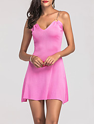 cheap -Women's Party Going out Club Sexy A Line Dress,Solid Strap Above Knee Sleeveless Mercerized Cotton All Seasons High Rise Stretchy Medium