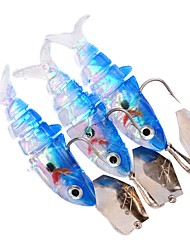 cheap -3 pcs Soft Bait Fishing Lures Soft Jerkbaits Shad Jig Head Lure Packs Soft Bait Soft Plastic Lead Sea Fishing Bait Casting Spinning