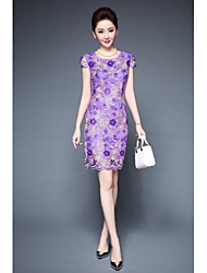 cheap -YBKCP Women's Plus Size Sheath Dress - Embroidery