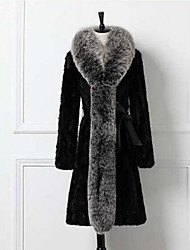 Недорогие -Для женщин На каждый день Зима Пальто с мехом Воротник-стойка,Простой Однотонный Длинная Длинный рукав,Другое