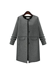 Women's Casual/Daily Simple Fall Coat,Solid Round Neck Long Sleeve Long Others