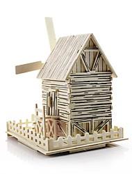 Недорогие -Игрушечные машинки 3D пазлы Мельницы Ветряная мельница Знаменитое здание Лошадь Своими руками деревянный Классика Детские Универсальные Мальчики Игрушки Подарок
