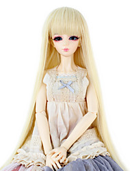 Synthetic Doll Accessories Long Straight Light Blonde color Hair Neat Straight Bang for 1/3 1/4 Bjd SD DZ MSD Doll Costume Wigs Not for Human Adult
