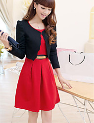 Women's Casual/Daily Simple Winter Blazer Dress Suits,Solid Round Neck Long Sleeve Micro-elastic