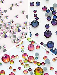 300pcs Colorful Nail Rhinestone Multi-size Flat Bottom 3D Nail Decoration Manicure Nail Art Decorations