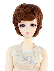 cheap -Synthetic Doll Accessories Short Wavy Light Brown Color Hair for 1/3 1/4 Bjd SD DZ MSD Doll Costume Wig Not for Human Adult