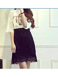 Women's Office/Career Daily Stage Skirts Pattern Casual Spring Summer T-shirt Skirt Suits,Solid Classic Round Neck Short SleeveLace