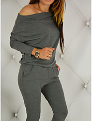 Women's Casual/Daily Simple Solid Round Neck Jumpsuits,Slim Long Sleeve Spring Fall Spandex