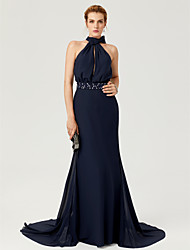 Sheath / Column High Neck Court Train Chiffon Formal Evening Dress with Beading Bow(s) Sash / Ribbon Pleats by TS Couture®