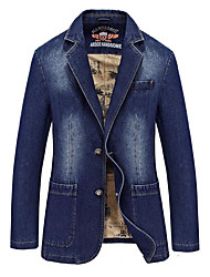 cheap -Men's Daily Simple Casual Spring Fall Denim Jacket,Solid Peaked Lapel Long Sleeve Short Cotton Others