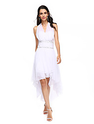 cheap -A-Line Halter Asymmetrical Chiffon Cocktail Party Prom Dress with Beading Ruching by TS Couture®