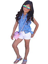 cheap -Girls' Solid Clothing Set,Cotton Others Summer Sleeveless Dresswear Blue