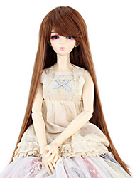 Synthetic Doll Accessories Wigs Long Straight Light Brown color Hair for 1/3 1/4 Bjd SD DZ MSD Doll Costume Wig Not for Human Adult