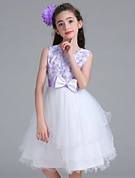 cheap -Princess Knee Length Flower Girl Dress - Satin Net Sleeveless Jewel Neck by Bflower