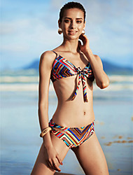 Women's Boho Halter Bikinis,Floral Wireless/Padded Bras Nylon Multi-color