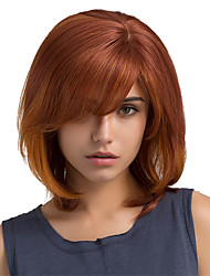 cheap -Hot Sale Ombre Color Oblique Bangs Bob Hairstyle Human Hair Wigs