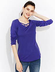 cheap -Women's Cotton T-shirt - Solid Colored Cut Out V Neck