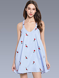 Women's Going out Casual/Daily Sexy Simple Cute A Line Loose Dress,Striped Floral V Neck Mini Above Knee Sleeveless RayonAll Seasons