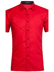 cheap -Men's Sports Cotton Shirt - Striped Color Block Standing Collar