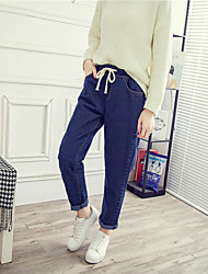 Women's High Waist strenchy Loose Jeans Pants,Cute Simple Loose Straight Denim Solid
