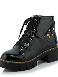 cheap -Women's Boots Comfort Leatherette Winter Casual Dress Comfort Lace-up Chunky Heel Champagne Blushing Pink Black Gold 2in-2 3/4in
