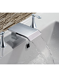 cheap -Mediterranean Beach Style Widespread Waterfall Two Handles Three Holes Chrome , Bathroom Sink Faucet