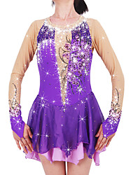 cheap -Figure Skating Dress Women's / Girls' Ice Skating Dress Purple Spandex Rhinestone / Appliques High Elasticity Performance Skating Wear